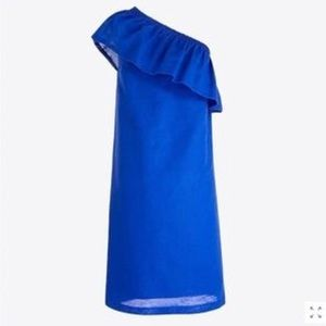 NEW J. Crew One Shoulder Dress Sapphire Blue XL